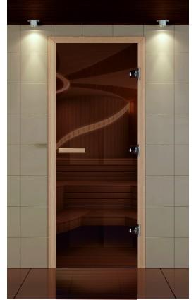 Дверь для сауны стандарт стекло бронзовое