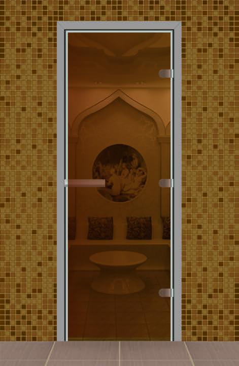 Дверь для турецкой бани без порога, стекло бронза