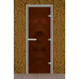 Дверь для турецкой бани без порога, стекло бронза матовое