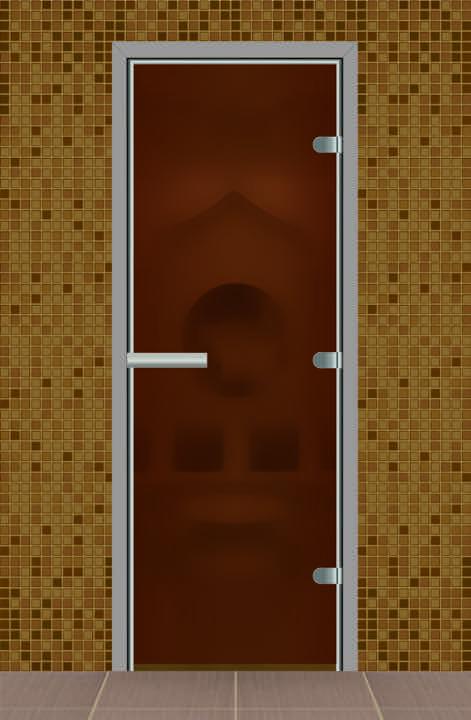 Дверь для турецкой бани без порога, стекло бронза матовое - качественная дверь в алюминиевом профиле, которая используется для турецких бань и душевых.