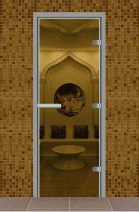 Дверь для турецкой бани без порога, стекло прозрачное
