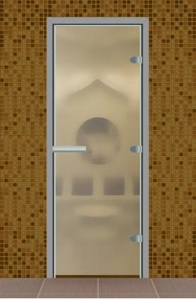 Дверь для турецкой бани без порога, стекло матовое