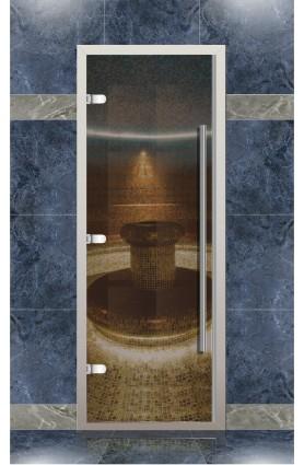 Дверь хамам Веста для турецкой бани с порогом, стекло бронза