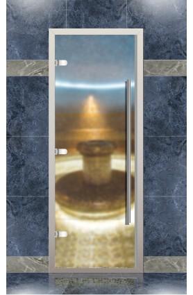 Дверь хамам Веста для турецкой бани с порогом, прозрачное матовое