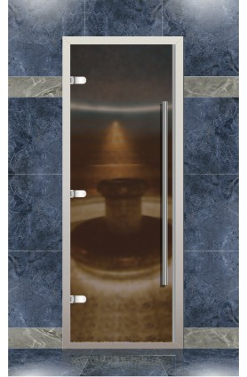 Дверь хамам Веста для турецкой бани с порогом, бронза матовое