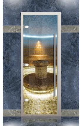 Дверь хамам Веста для турецкой бани с порогом, стекло прозрачое