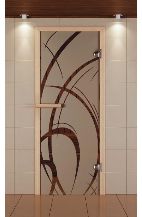 """Дверь для сауны стандарт, серия """"Арабика"""", стекло бронзовое"""