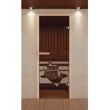 """Дверь для сауны стандарт, серия """"Банный день"""", стекло бронзовое"""