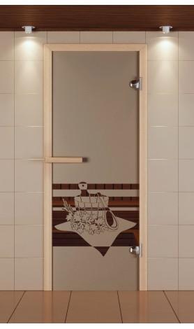"""Дверь для сауны стандарт, серия """"Банный вечер"""", стекло бронзовое"""