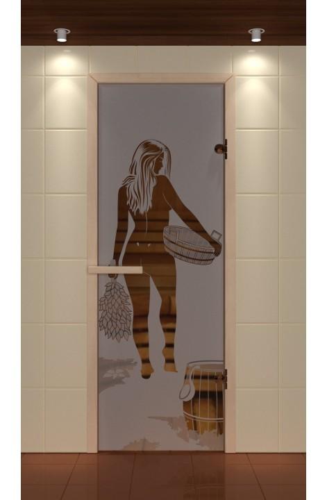 """Дверь для сауны стандарт, серия """"Банщица"""", стекло бронзовое"""