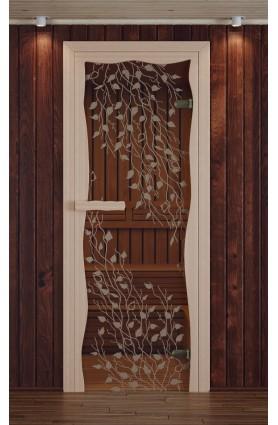 """Дверь для сауны, модель """"Круиз"""", серия """"Береза"""", с фьюзингом"""