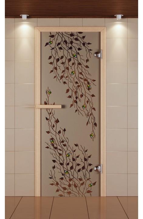 """Дверь для сауны стандарт, серия """"Береза"""", с фьюзингом, стекло бронзовое"""