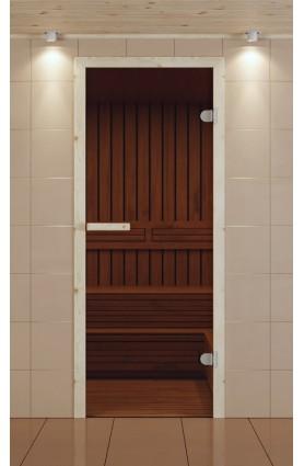 Дверь для сауны Серия ЭКОНОМ , стекло бронзовое, коробка лиственная