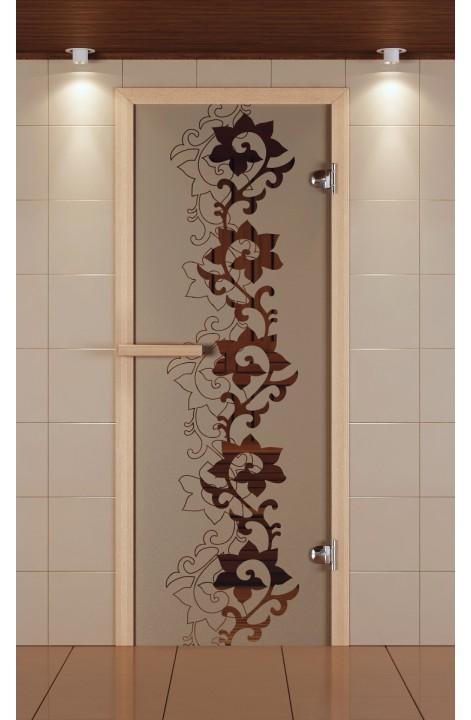 """Дверь для сауны стандарт, серия """"Чайный декор, стекло бронзовое"""