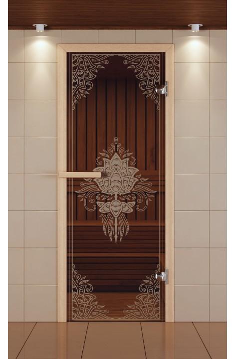 """Дверь для сауны стандарт, серия """"Аленький цветочек 3D"""", стекло бронзовое"""