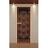 """Дверь для сауны стандарт, серия """"Бабочка"""", стекло бронзовое"""
