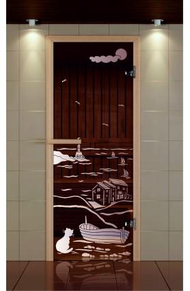 """Дверь для сауны стандарт, серия """"Дом у моря ночь"""", стекло бронзовое"""