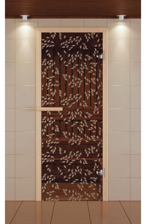 """Дверь для сауны стандарт, серия """"Листья березы"""", стекло бронзовое"""