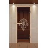 """Дверь для сауны стандарт, серия """"Лотос 3D"""", стекло бронзовое"""