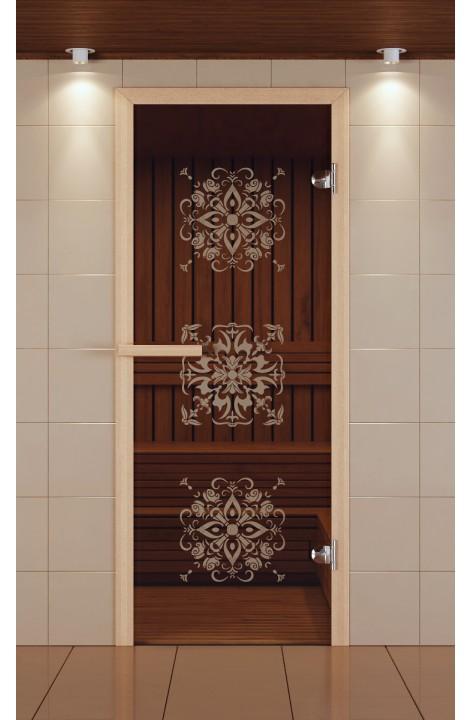 """Дверь для сауны стандарт, серия """"Снежинки"""", стекло бронзовое"""