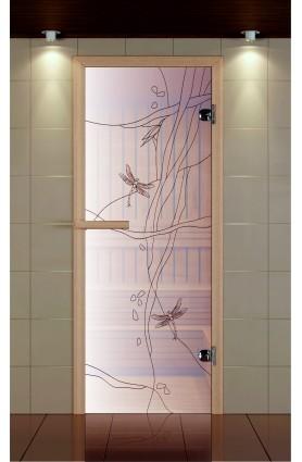 """Дверь для сауны стандарт, серия """"Стрекоза день"""", стекло бронзовое"""