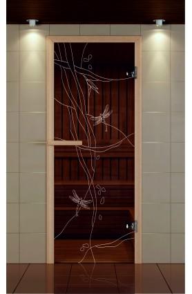 """Дверь для сауны стандарт, серия """"Стрекоза ночь"""", стекло бронзовое"""