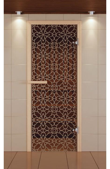 """Дверь для сауны стандарт, серия """"Тиффани"""", стекло бронзовое"""