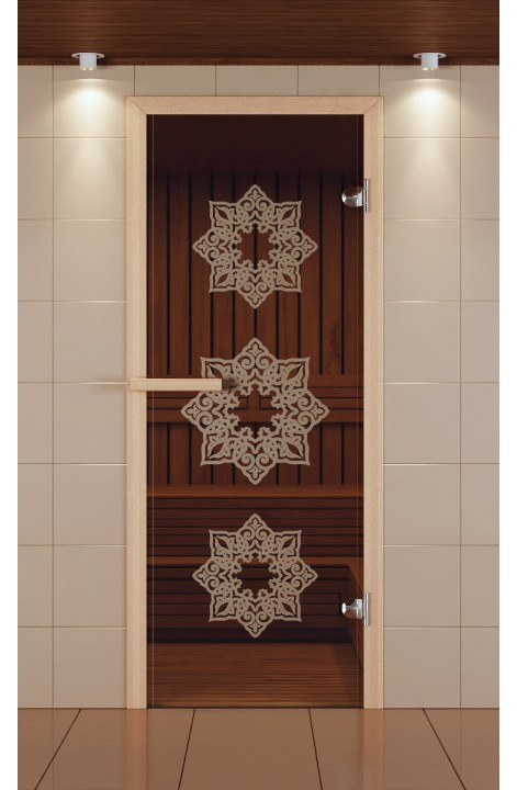 "Дверь для сауны стандарт, серия ""Жасмин"", стекло бронзовое"