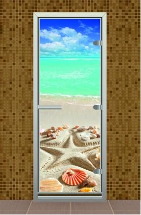 """Дверь для турецкой бани серия """"Пляж"""" с фотопечатью"""