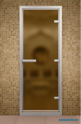 Дверь для турецкой бани, стекло бронзовое матовое