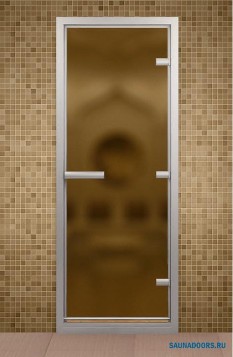 Дверь для турецкой бани АЛЬДОВУД 690*1990 мм, правая, стекло бронзовое матовое,  короб бронзовый