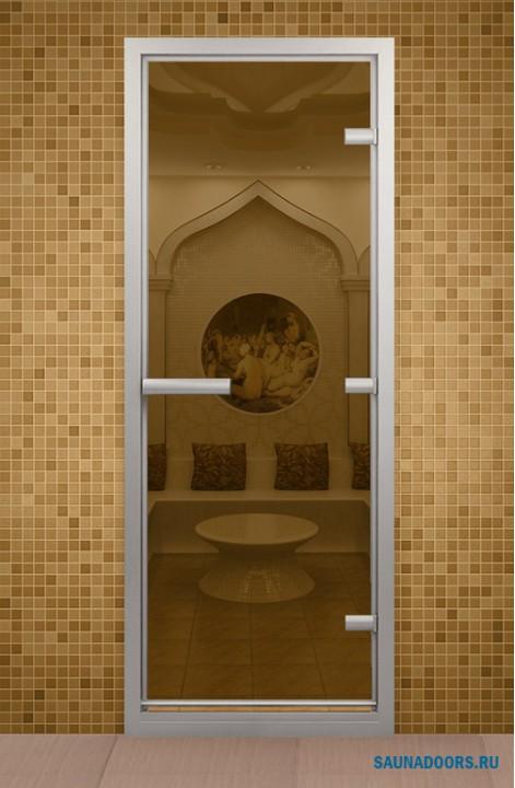 Дверь для турецкой бани, стекло бронзовое