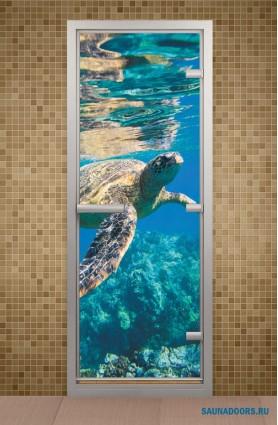 """Дверь для турецкой бани серия """"Водный мир"""" с фотопечатью"""