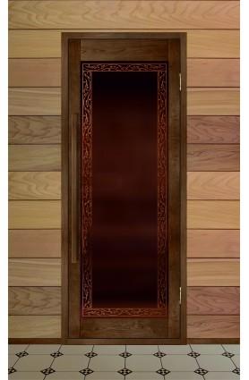 """Дверь деревянная для бани серия ВЕКТОР модель """"Жимолость"""""""