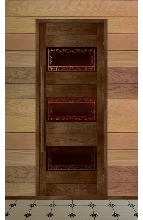 """Дверь деревянная для бани серия МЕРИДИАН модель """"Жимолость"""""""
