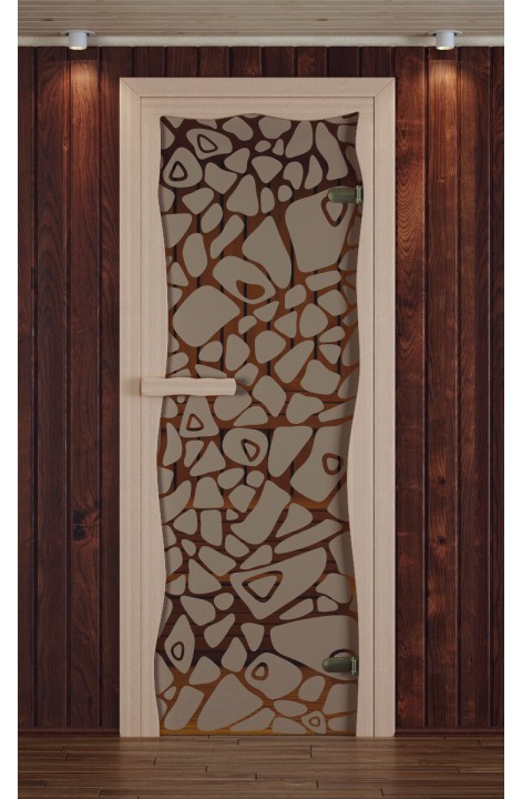 """Дверь для сауны, модель """"Круиз"""", серия """"Морское дно"""", с фьюзингом"""