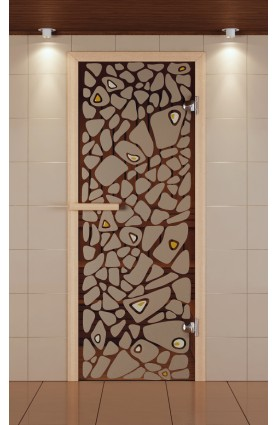 """Дверь для сауны стандарт, серия """"Морское дно"""", с фьюзингом, стекло бронзовое"""