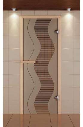 """Дверь для сауны стандарт, серия """"Муара"""", стекло бронзовое"""