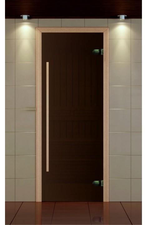 """Дверь для сауны, серия """"Премиум"""", стекло бронза сатин, ручка 1184 мм."""