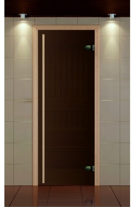 """Дверь для сауны, серия """"Премиум"""", стекло бронза сатин, ручка 1784 мм."""