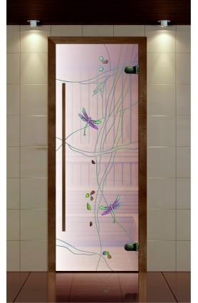 """Дверь для сауны, серия """"Премиум"""", стекло сатин контурная фотопечать Стрекоза"""