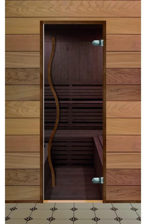 Дверь стеклянная для бани серия Элит стекло бронза (Термобук)