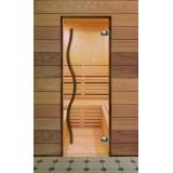 Дверь стеклянная для бани серия Элит ручка тильда стекло прозрачное (Термобук)