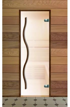 Дверь стеклянная для бани серия Элит стекло сатин ручка тильда