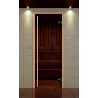 """Дверь для сауны, серия """"Премиум"""", стекло бронзовое, ручка 1784 мм."""