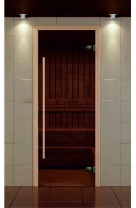 """Дверь для сауны, серия """"Премиум"""", стекло бронзовое, ручка 1184 мм."""