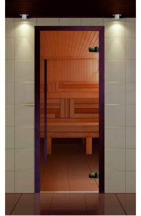 """Дверь для сауны, серия """"Премиум"""", коробка термобук стекло бронза, ручка 1184 мм."""