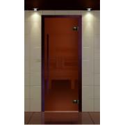 """Дверь для сауны, серия """"Премиум"""", коробка термобук стекло бронза сатин, ручка 1184 мм."""