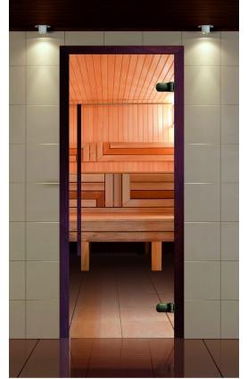 """Дверь для сауны, серия """"Премиум"""", коробка термобук стекло прозрачное, ручка 1184 мм."""