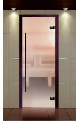 """Дверь для сауны, серия """"Премиум"""", коробка термобук стекло прозрачное сатин, ручка 1184 мм."""